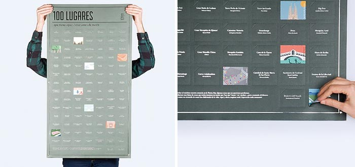 Regalos para viajeros, póster lugares a los que viajar antes de morir